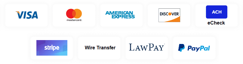 Accepted Payment Methods include Visa, Mastercard, American Express, Discover, ACH, eCheck, Wire Transfer. The services are provided by Stripe, LawPay, and PayPal.